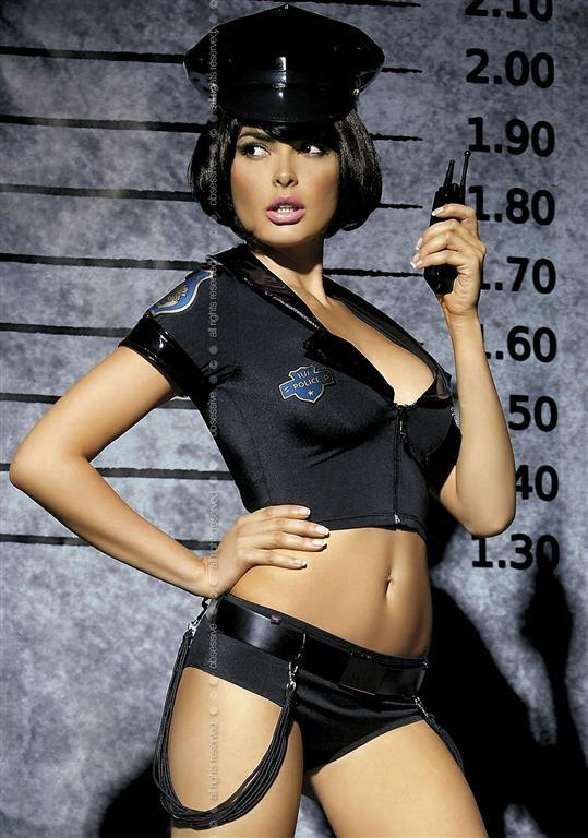 Sexy kostým Policie s čepicí a páskem S/M