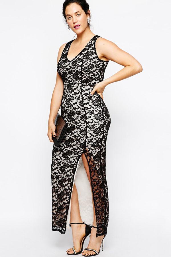 Společenské šaty pro plnoštíhlé krajkové MARGAUX dlouhé černé - Černo-bílá / XL - OEM XL