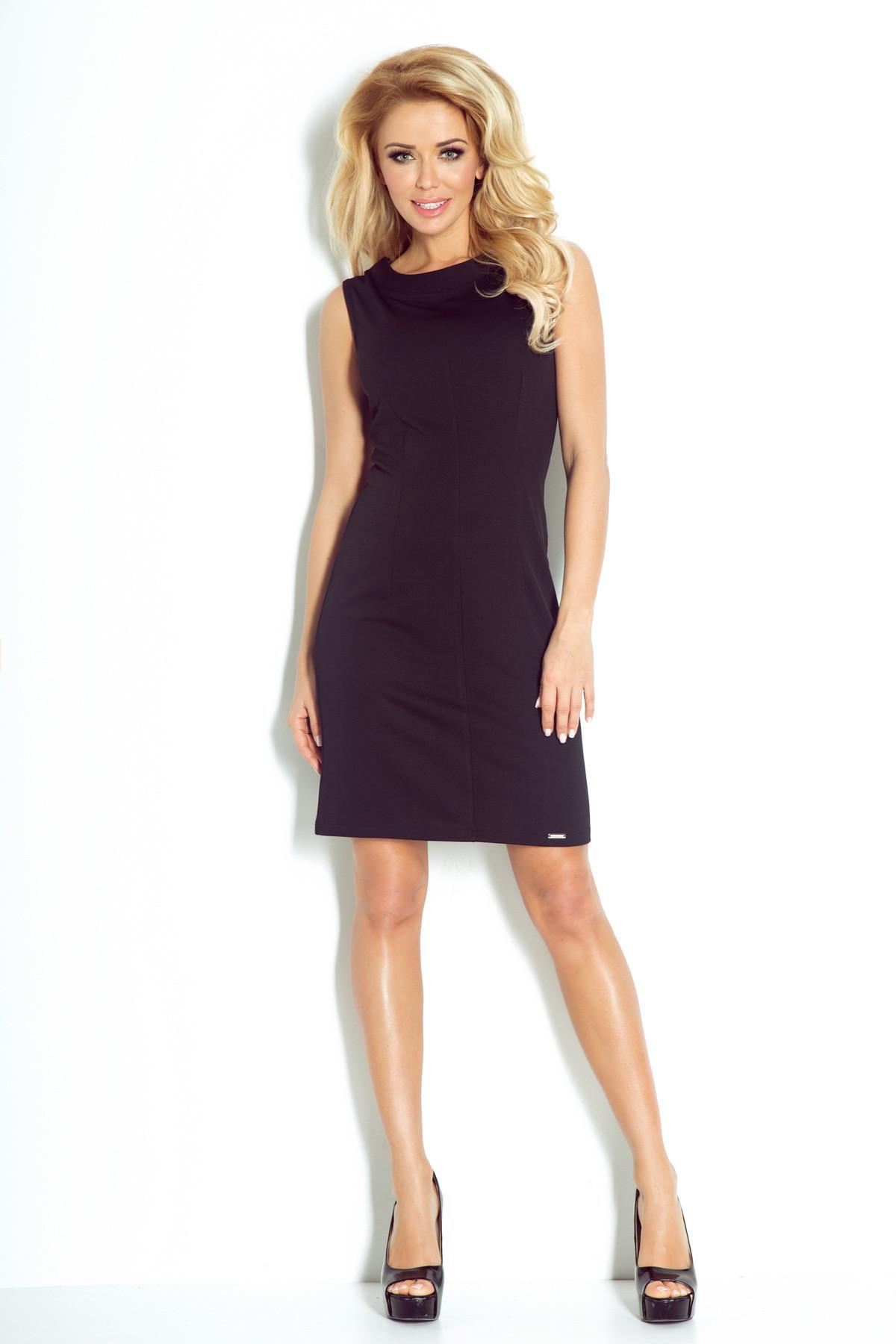 Dámské společenské šaty značkové vypasované bez rukávu krátké černé - Černá / XL - Numoco černá XL