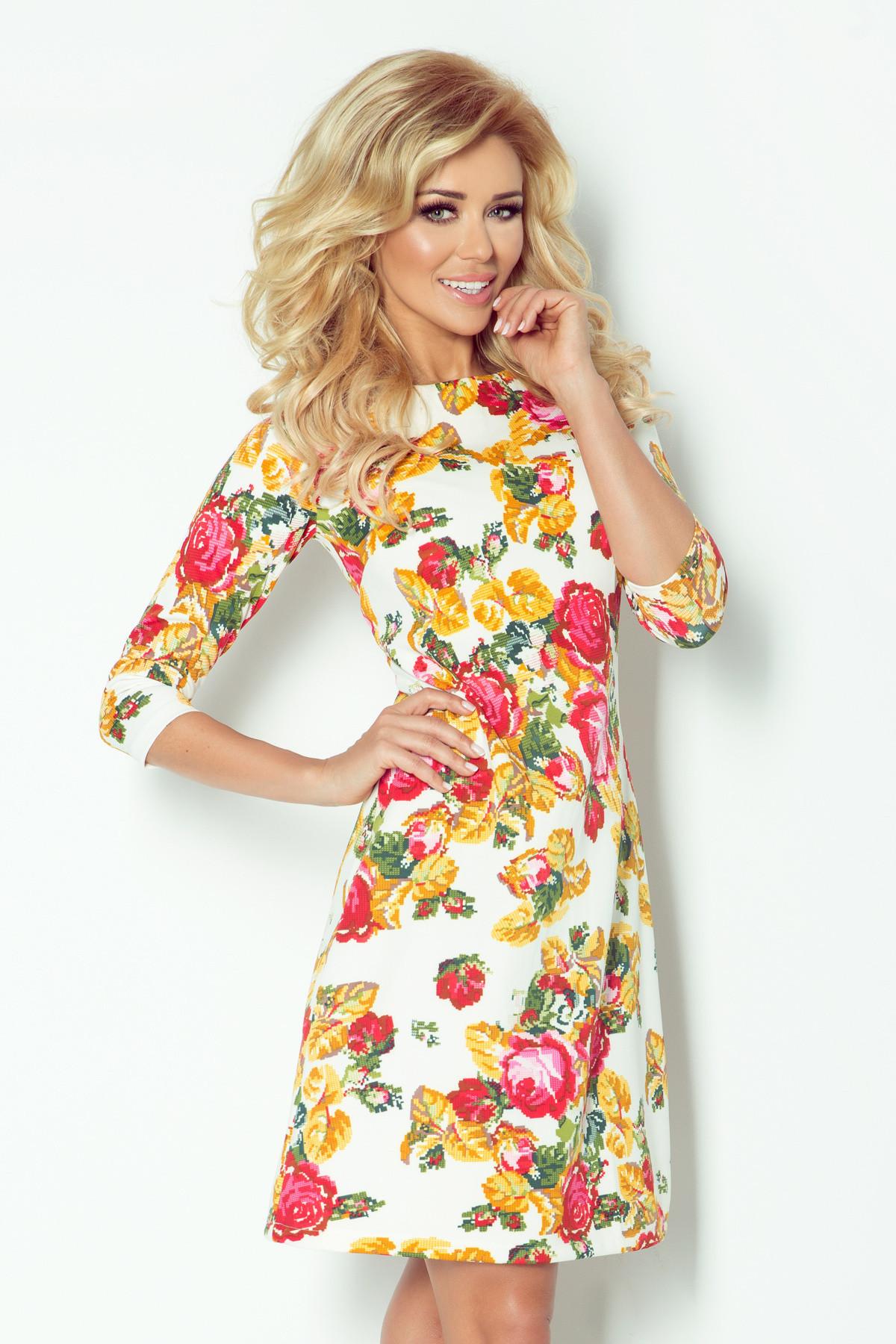 Dámské společenské šaty BLOSSOM s květovaným motivem krátké květované - Květovaná / L - Numoco smetanová L