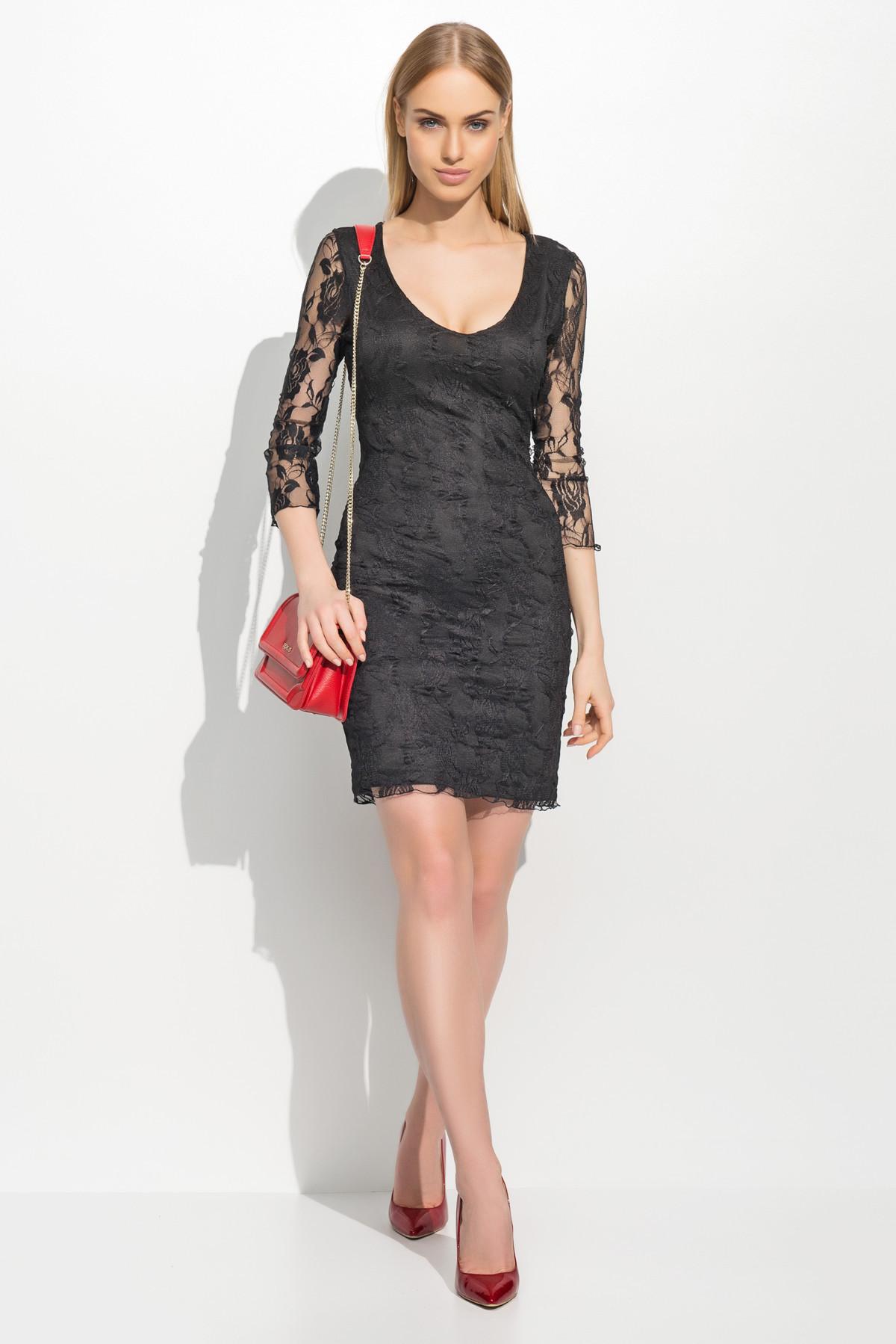 Dámské společenské šaty krajkové s 3/4 rukávem krátké černé - Černá / S - Makadamia černá 36