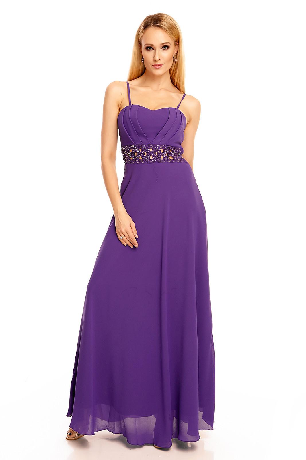 Dámské společenské šaty s korálky v pase dlouhé fialové - Fialová / S - EMMA DORE PARIS fialová S