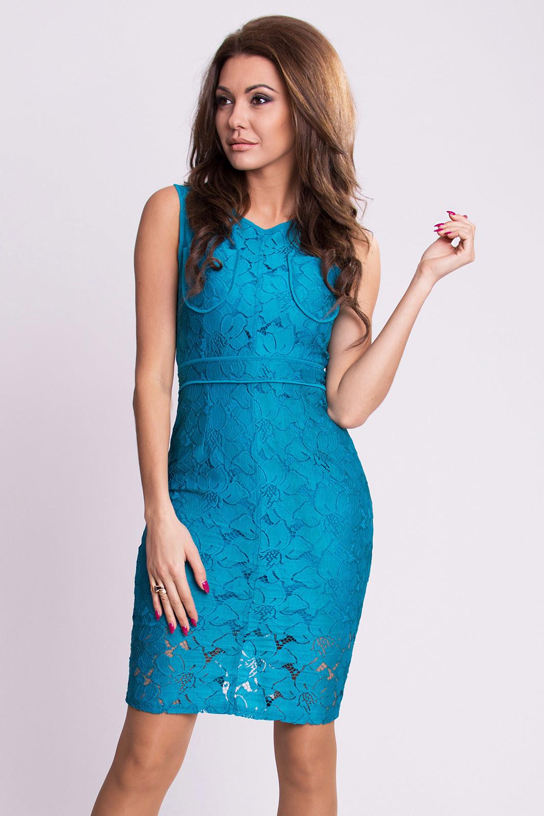 Dámské krajkové šaty EMAMODA modré - Modrá / S - EMAMODA modrá S