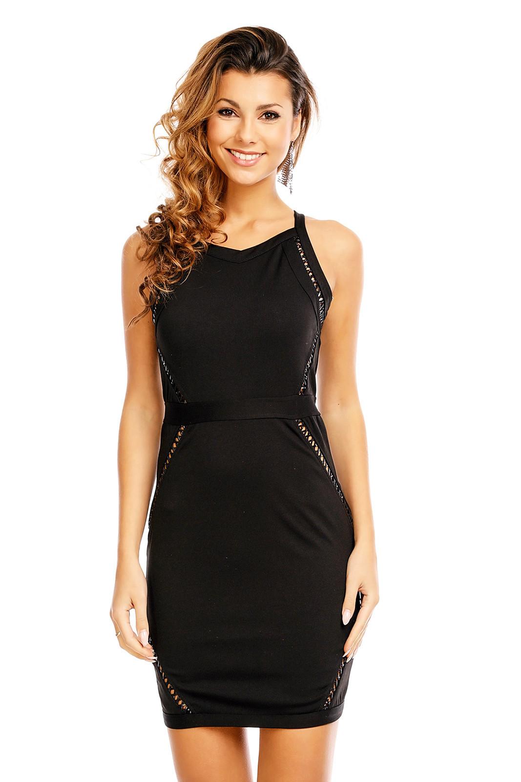 Dámské párty šaty bez rukávů s průstřihy krátké černé - Černá / M - In Vogue černá M