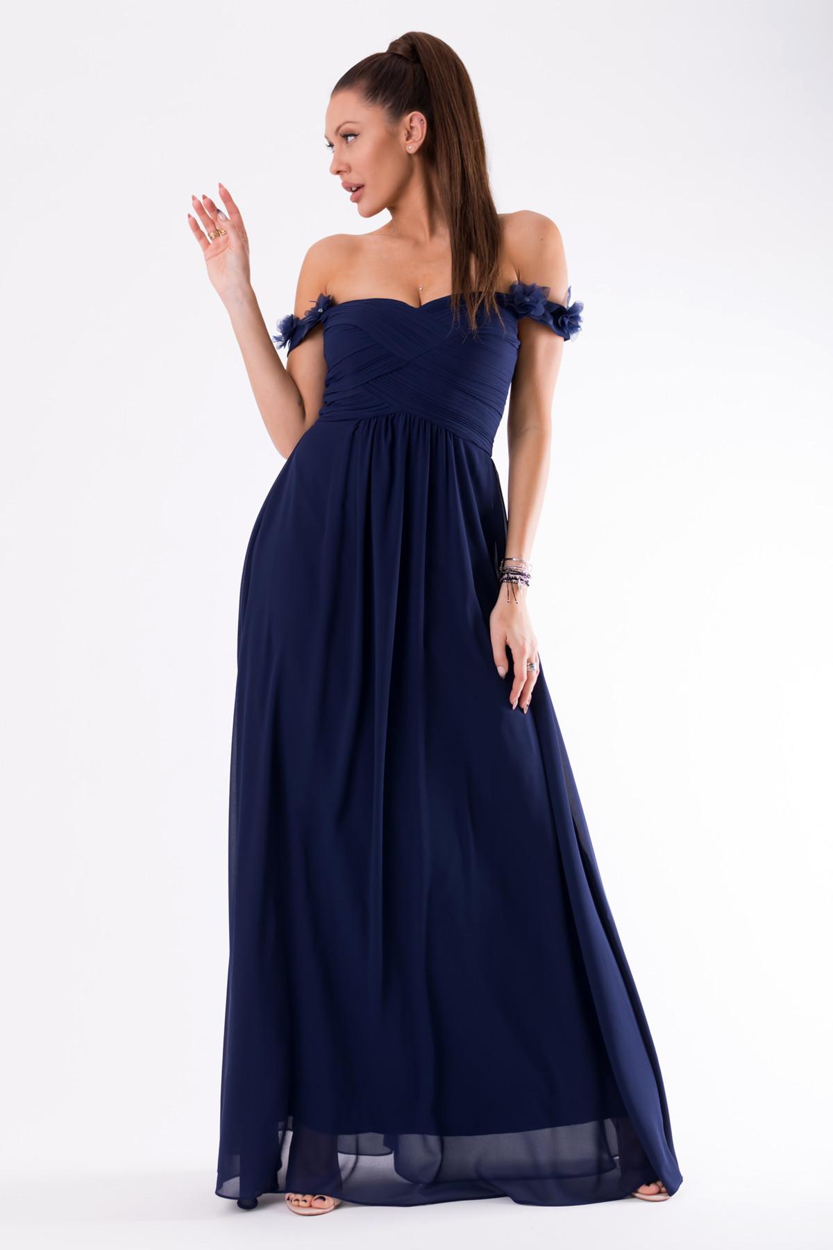 Dámské plesové šaty EVA & LOLA se spadlými rukávky dlouhé tmavě modré - Tmavě modrá / L - EVA&LOLA L