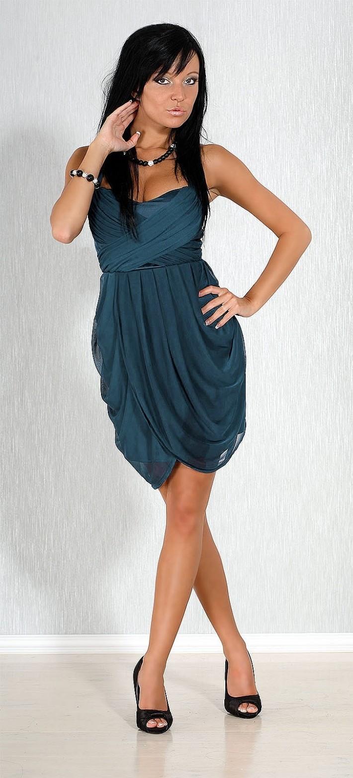 Společenské a plesové šaty FIONELLA středně dlouhé modré - Tmavě modrá / L - FIONELLA modrá L
