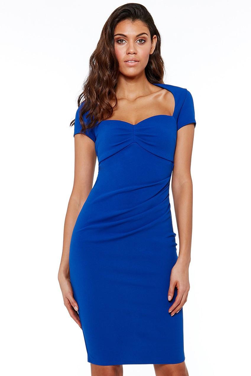 Středně dlouhé šaty s krátkým rukávem a výstřihem modré - Modrá / S - CityGoddes S
