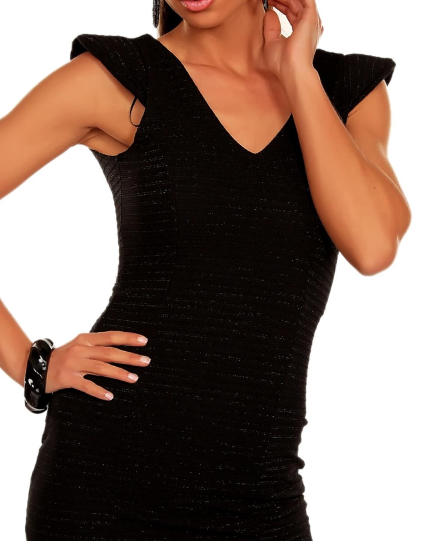 Dámské společenské a párty šaty bez rukávu s plastickým proužkem černé - Černá / M - OEM M