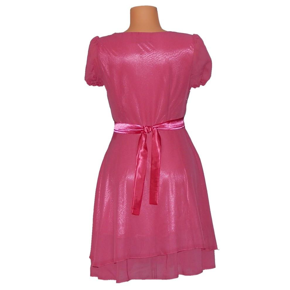 PROM Dámské párty a plesové šaty středně dlouhé růžové - Růžová - OEM růžová S