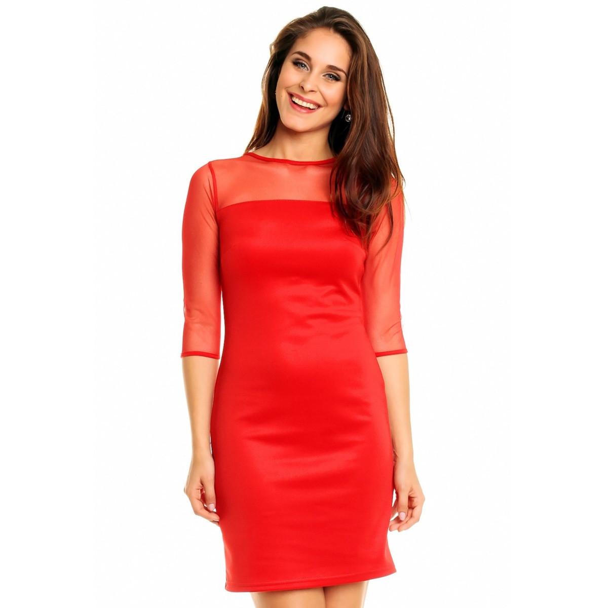 Společenské a párty šaty MAYAADI s šifonovým živutkem a rukávy červené - Červená - MAYAADI červená S