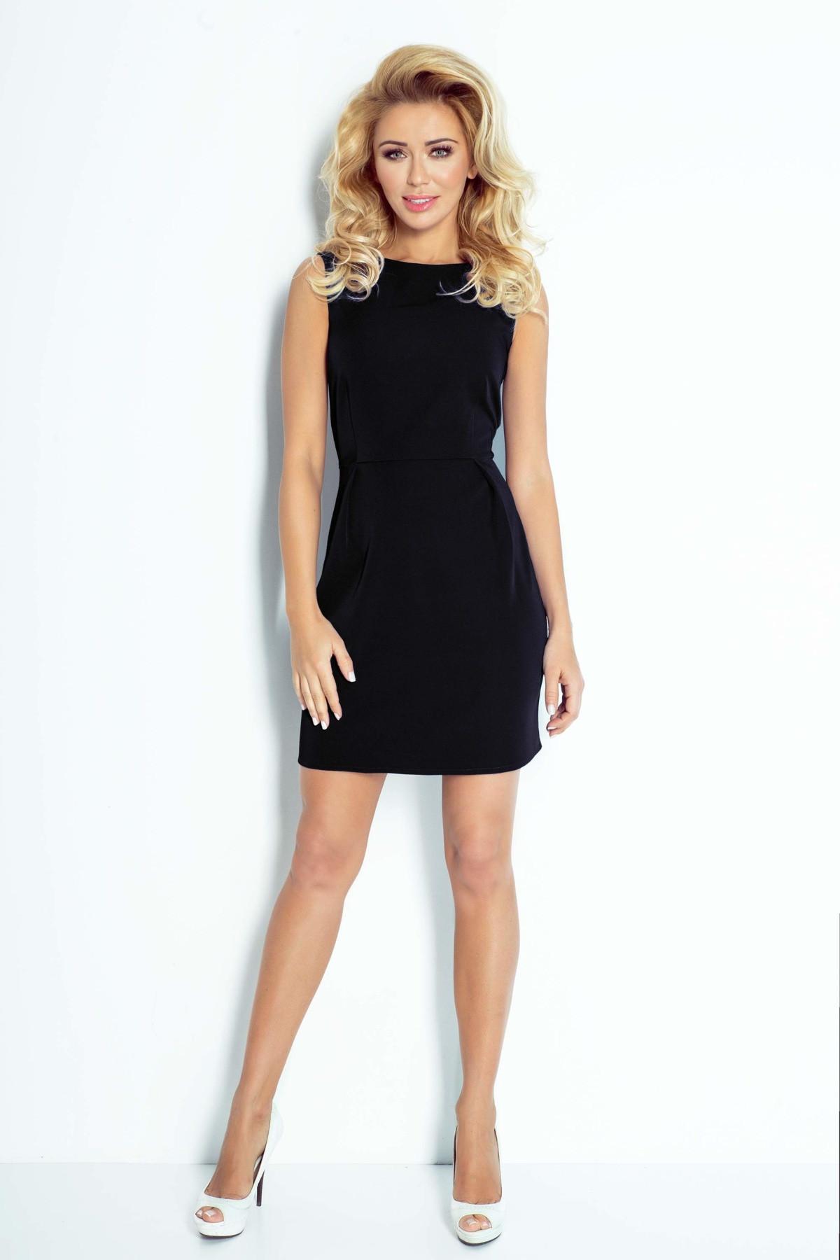 Dámské společenské šaty MADLENE bez rukávů krátké černé - Černá - Numoco černá L