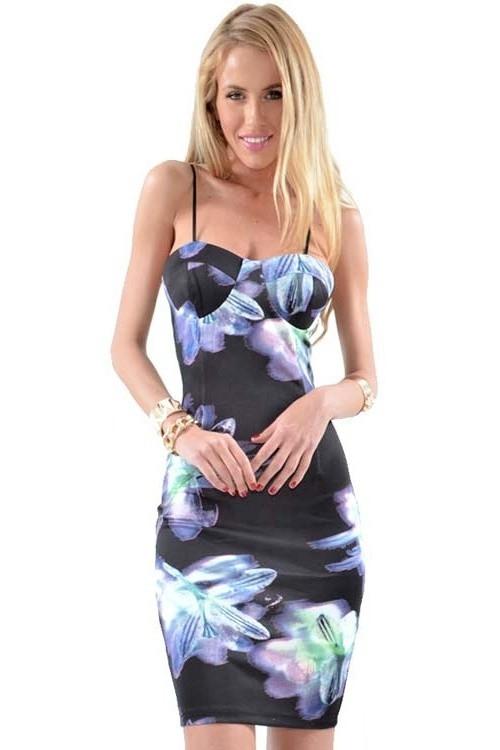 Párty a letní šaty MELANIE na ramínka s rozparkem krátké typ-2 - Černá - LOVER M