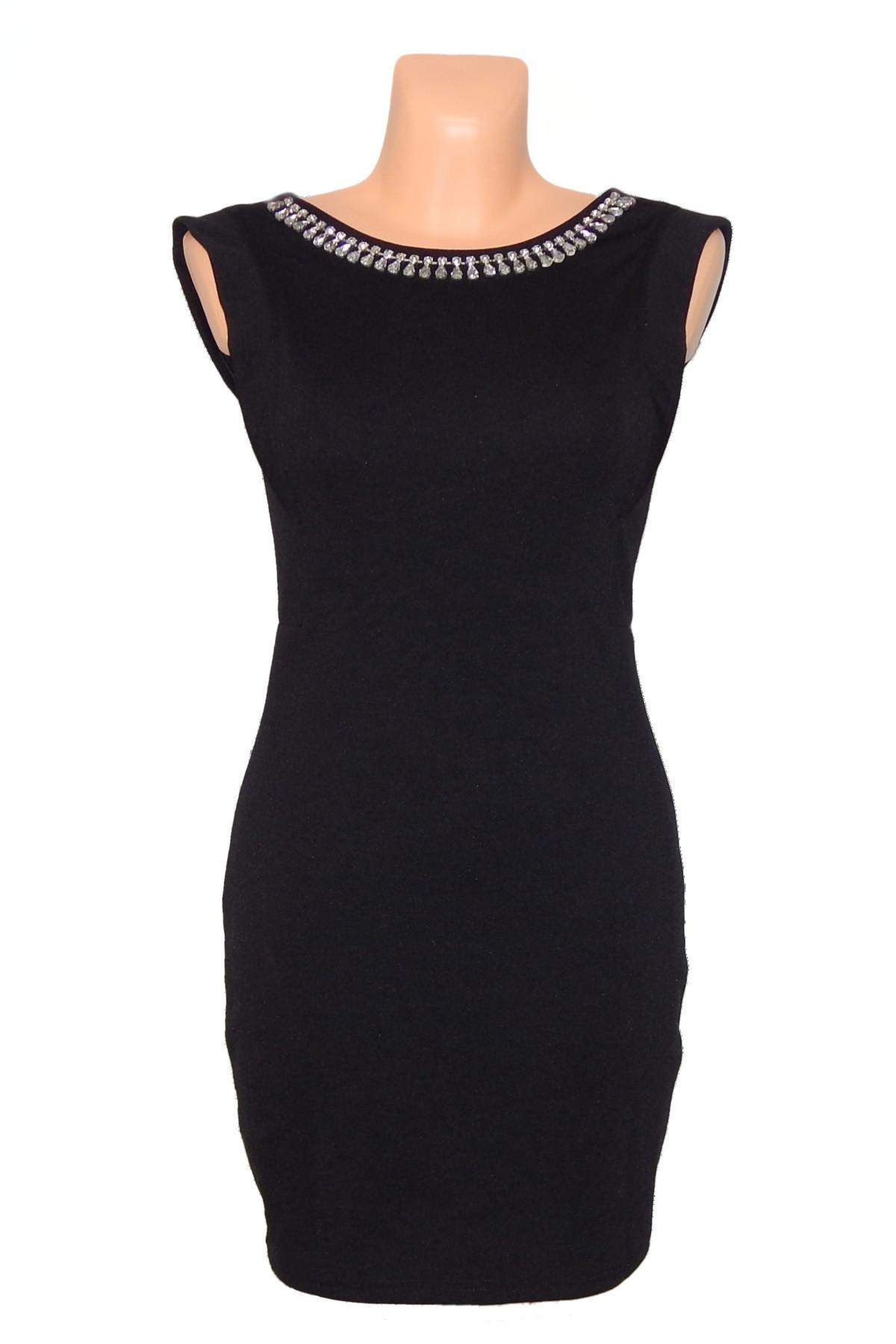 Společenské šaty zdobené kameny ve výstřihu bez rukávu krátké černé - Černá - CoCo Giulia černá S