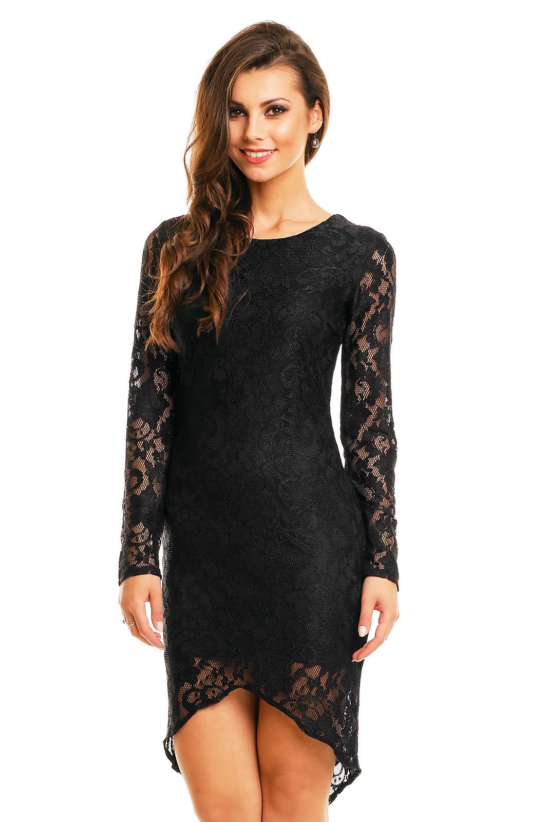 Společenské šaty značkové MAYAADI krajkové s asymetrickou sukní černé - Černá - MAYAADI černá S