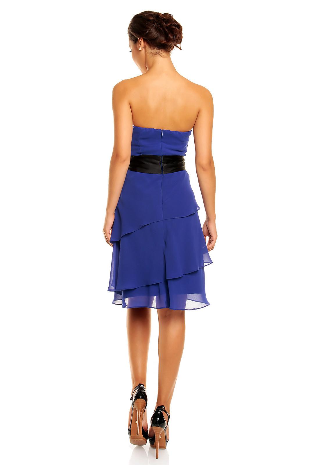 Společenské šaty korzetové značkové MAYAADI s mašlí a sukní s volány modré - Modrá - MAYAADI S