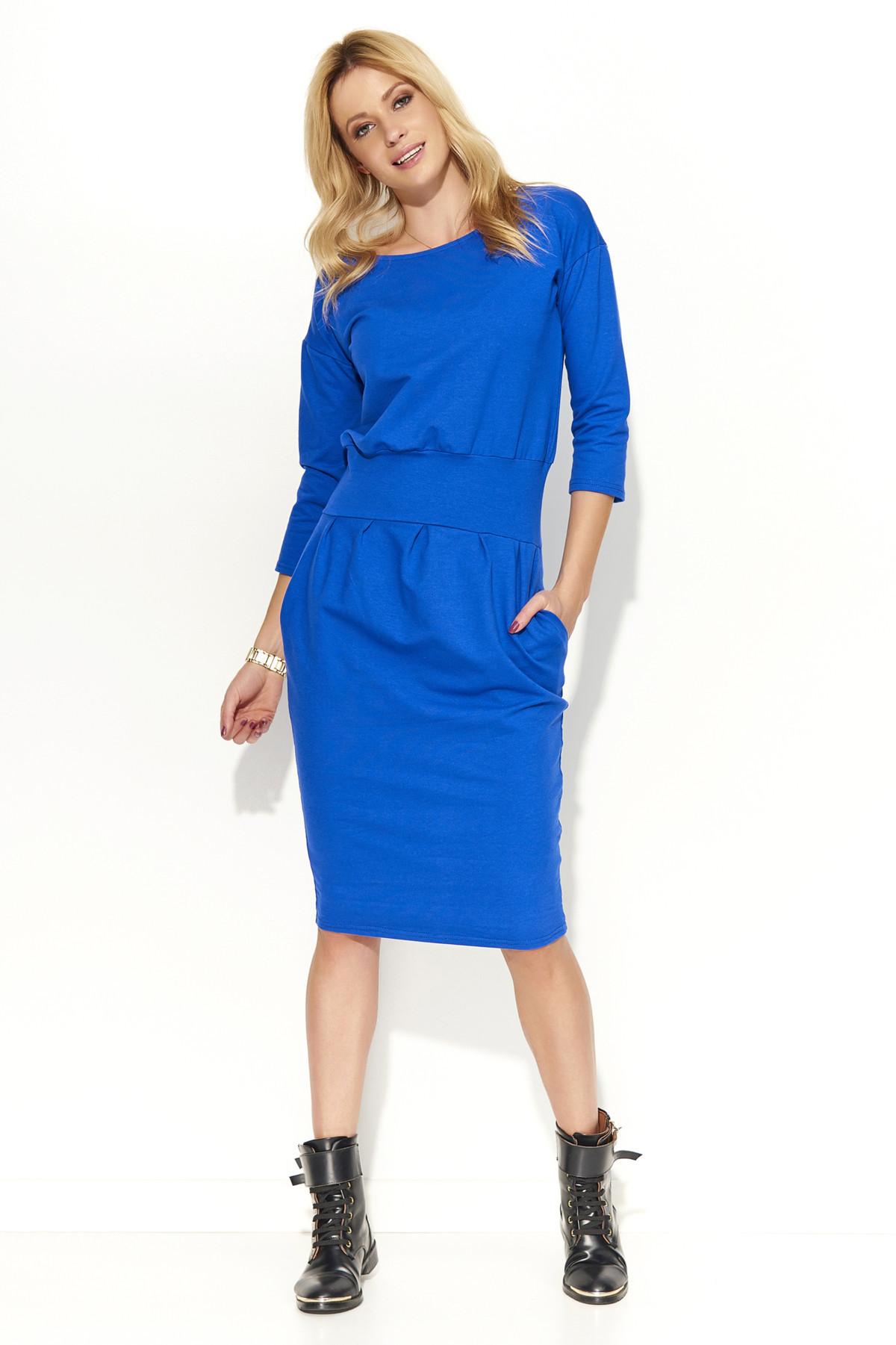 Dámské šaty s volným střihem středně dlouhé modré - Modrá - Makadamia modrá 42