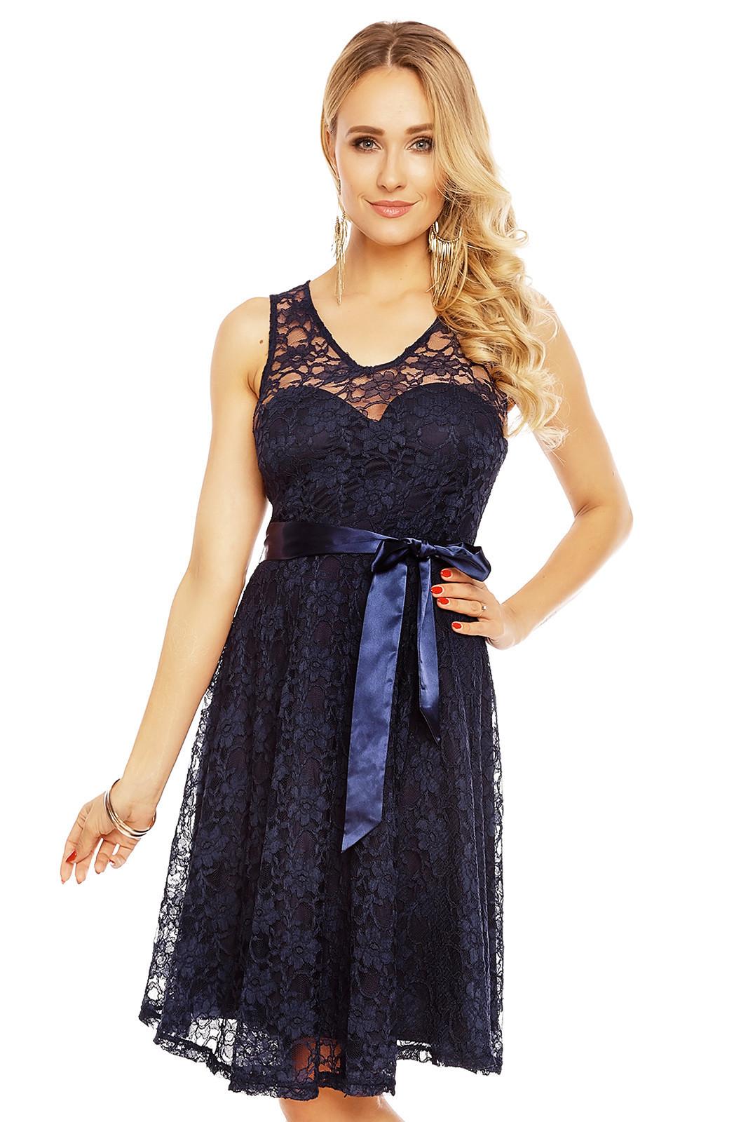 Dámské krajkové šaty na ramínka s páskem středně dlouhé tmavě modré - Tmavě modrá - MAYAADI tmavě modrá M