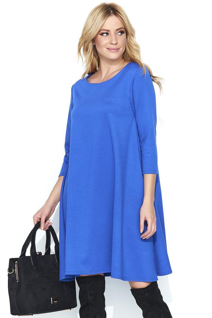 Dámské šaty na denní nošení ve volném střihu středně dlouhé modré - Modrá - Makadamia modrá 44