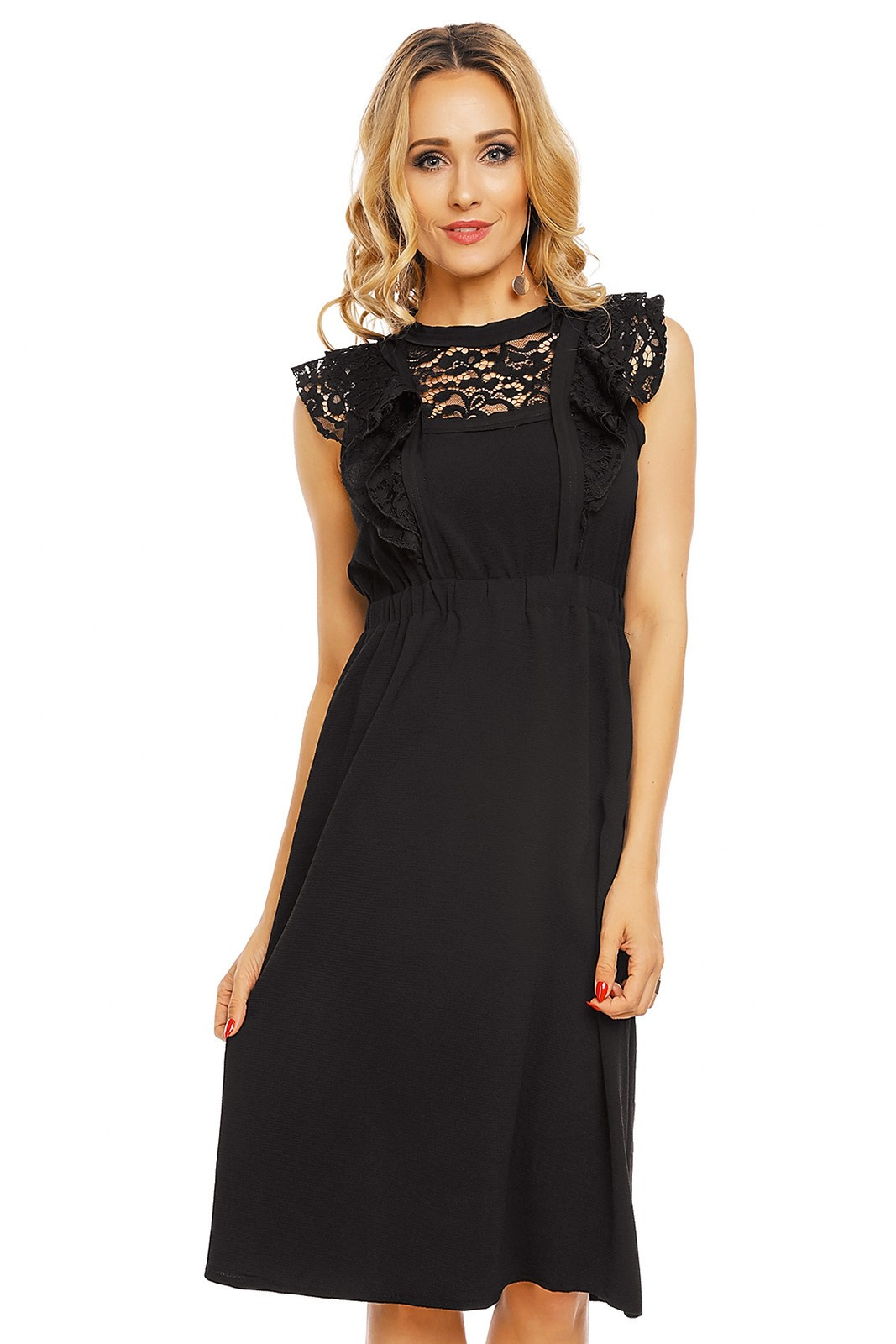 Dámské šaty s krajkovým rukávem středně dlouhé černé - Černá - Elli White černá M/L