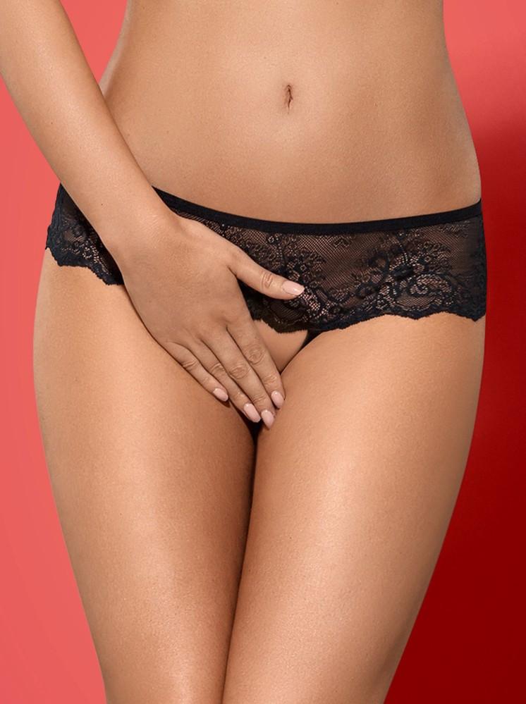 Kalhotky Merossa panties otevřené - Obsessive Barva: černá, Velikost: S/M