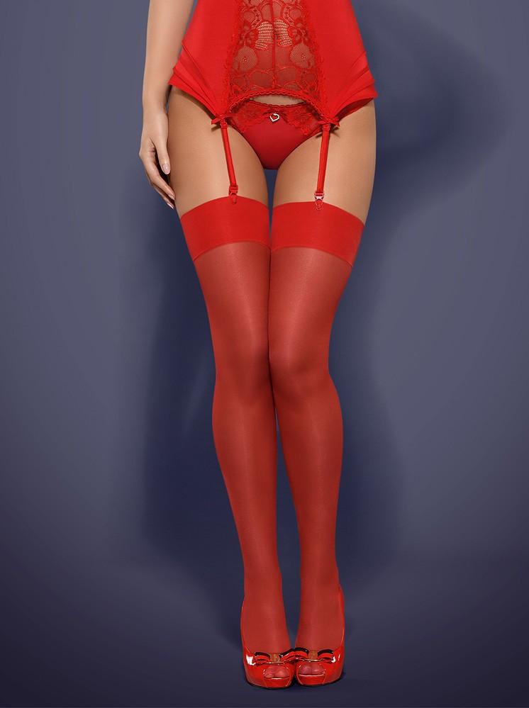 Punčochy S800 red - Obsessive červená S/M