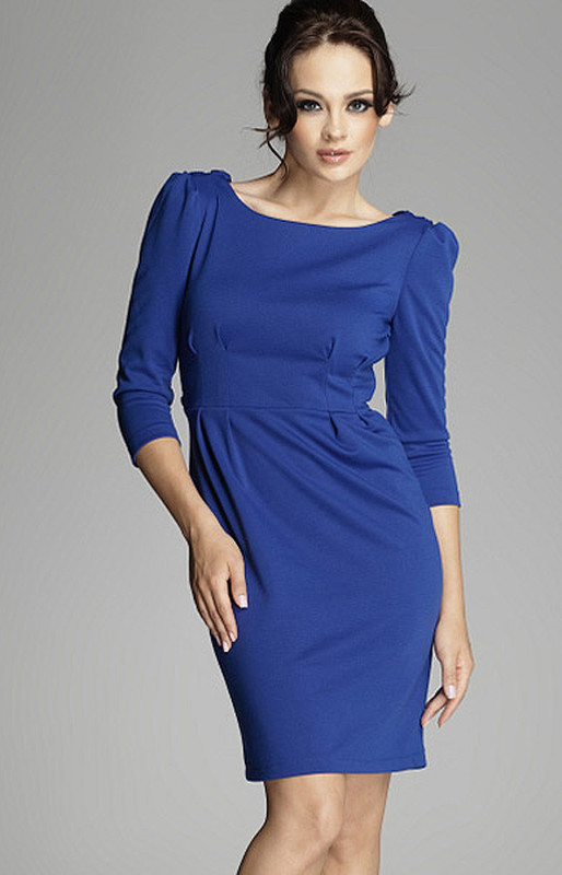 Elegantní šaty M082 modrá - Figl bílá XL