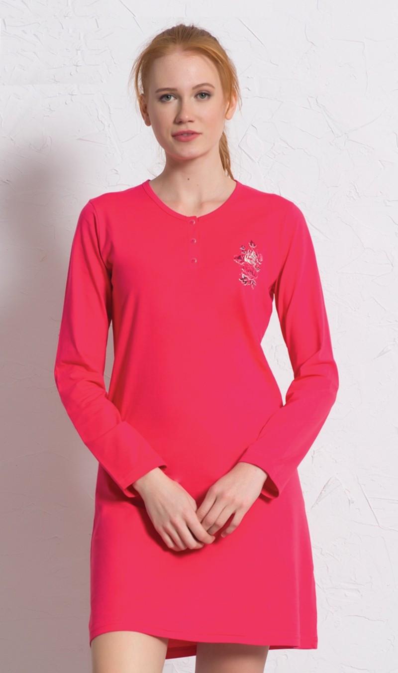 Dámská noční košile s dlouhým rukávem Julie jahodová S