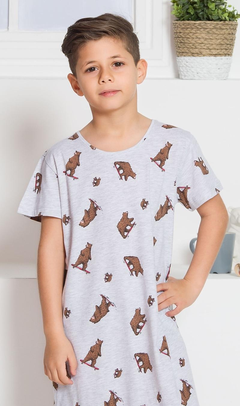 Dětská noční košile s krátkým rukávem Medvědi šedá 11 - 12