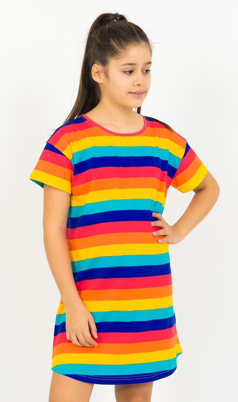 Dětská noční košile s krátkým rukávem Proužky oranžová 11 - 12