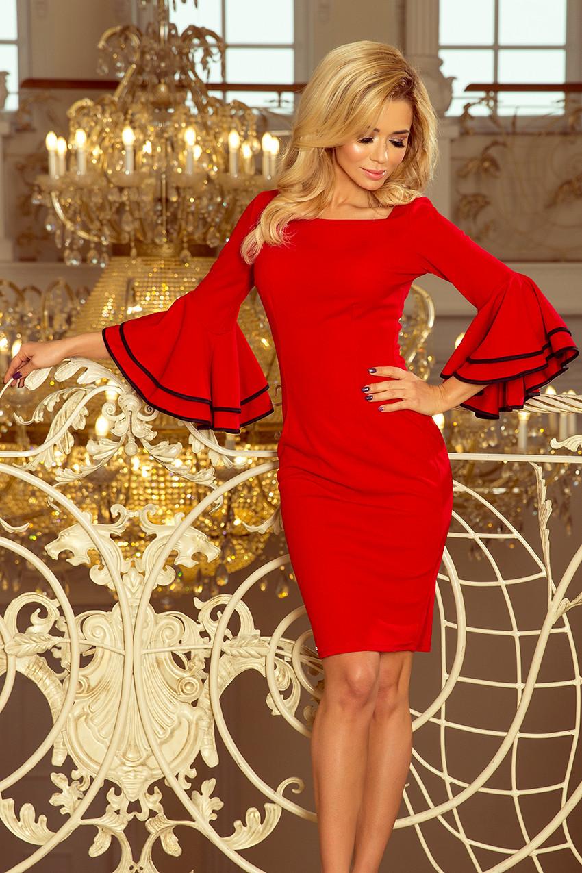000e7688a1be Červené dámské šaty se španělskými rukávy 188-1 CARMEN L