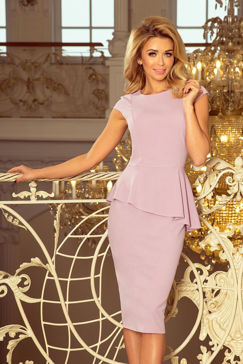 Elegantní dámské midi šaty v barvě lila s volánkem model 5943396 XXL