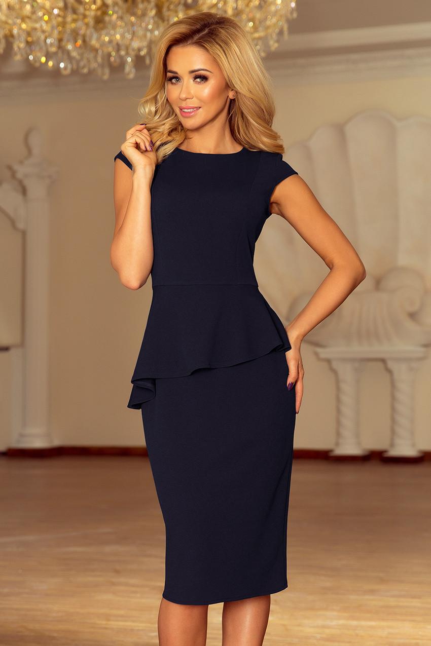 Elegantní tmavě modré dámské midi šaty s volánkem model 6211541 XL