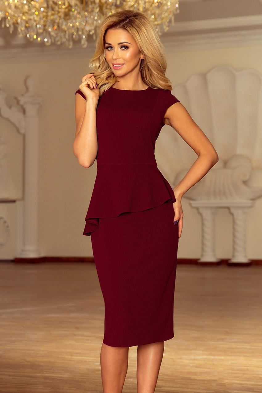 Elegantní dámské midi šaty v bordó barvě s volánkem model 6261782 S