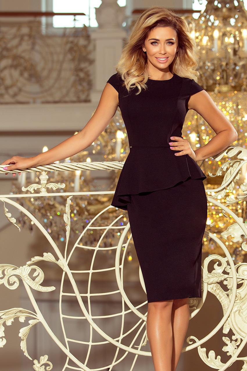 Elegantní černé dámské midi šaty s volánkem model 6332290 XL