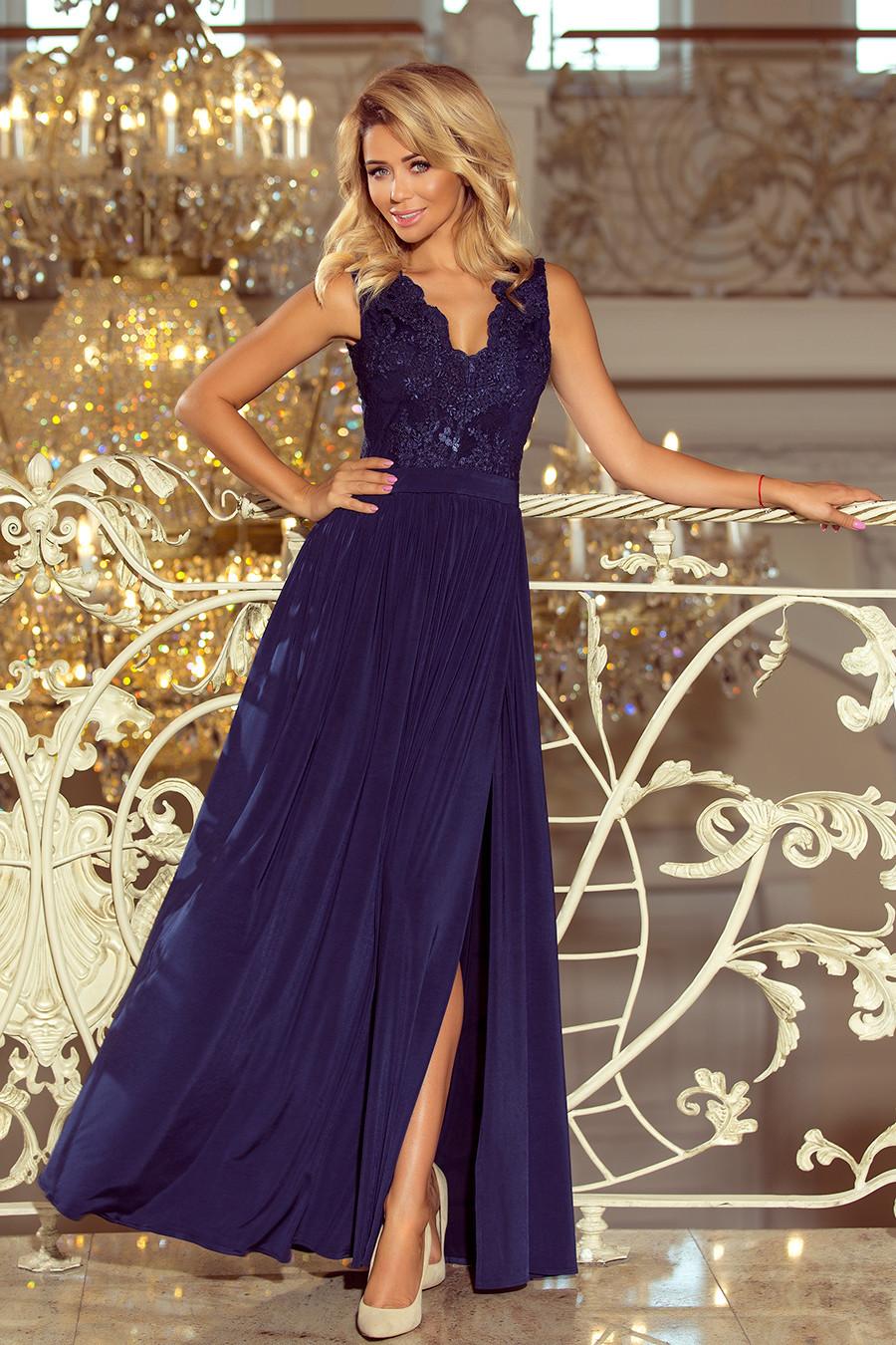 Dlouhé tmavě modré dámské šaty bez rukávů s vyšívaným výstřihem model 6369438 S