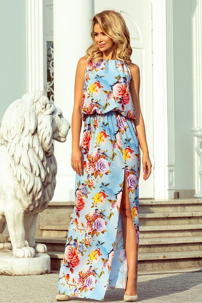 Dámské maxi šaty se vzorem květů na blankytném pozadí d72aa8d5b26