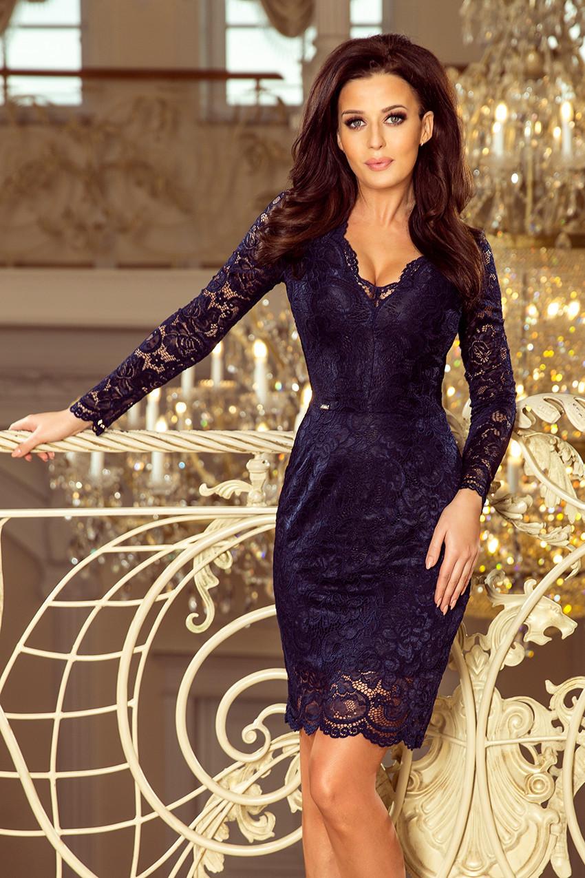 Dámské tmavě modré krajkové šaty s výstřihem a dlouhými rukávy model 7156526 S