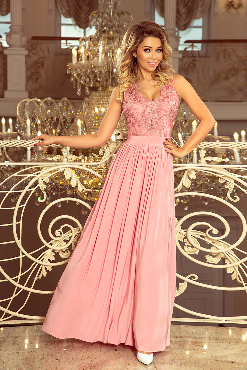 Dlouhé dámské šaty v pudrově růžové barvě bez rukávů a s vyšívaným výstřihem LEA 215-3 L