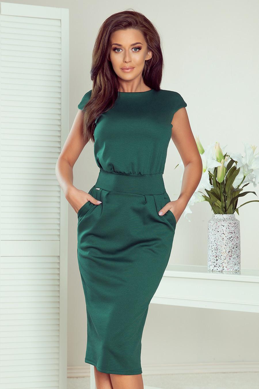 SARA - Dámské midi šaty v lahvově zelené barvě se zvýšeným pasem 144-8 S