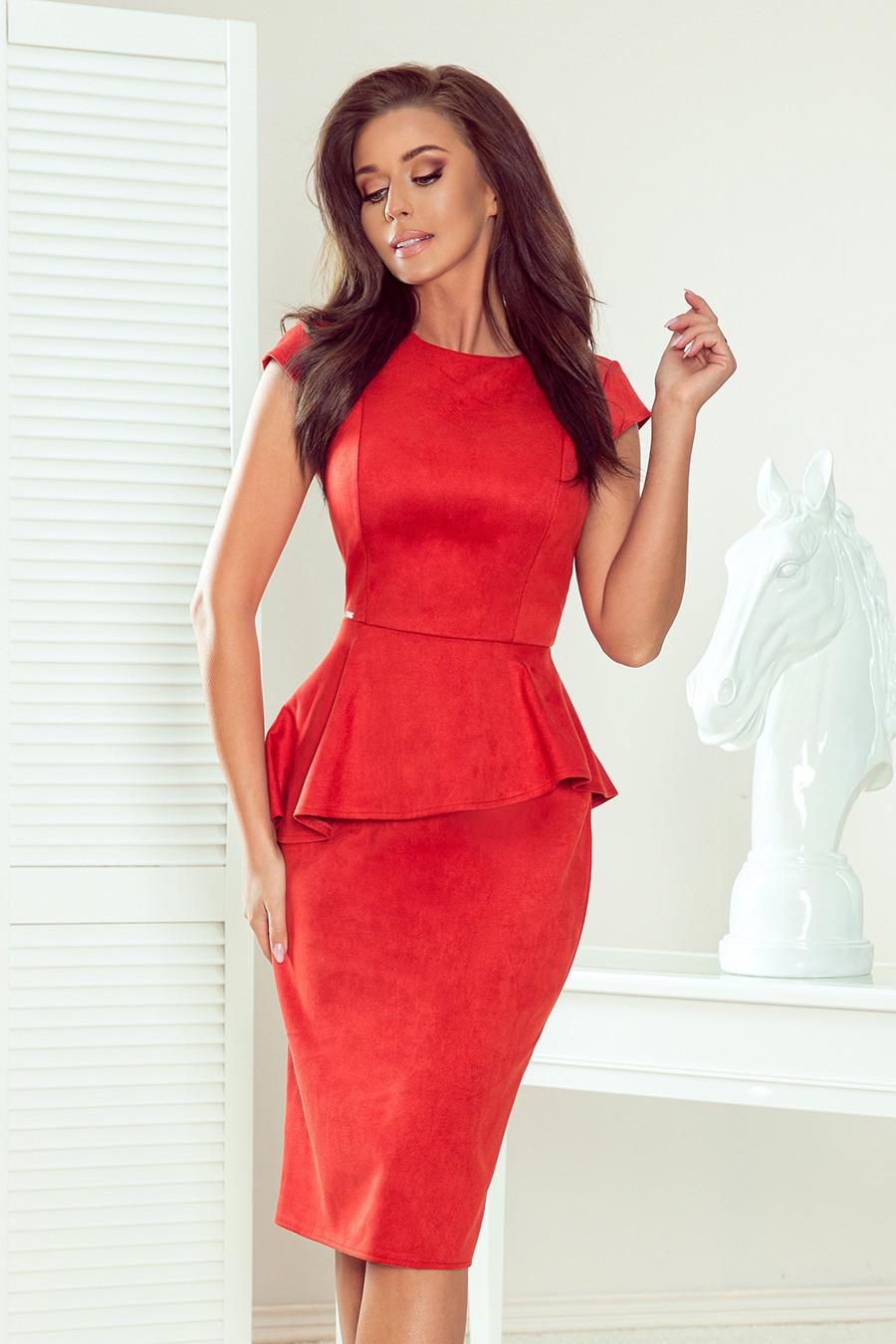 Elegantní dámské červené semišové midi šaty volánkem 192-11 XL