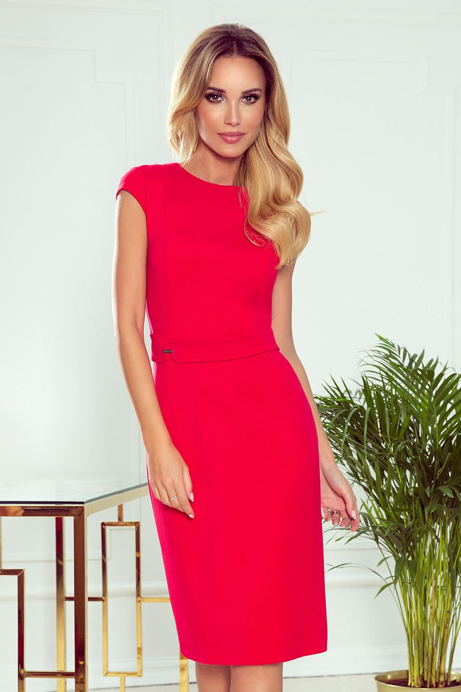 TAMARA - Elegantní červené dámské midi šaty s páskem 301-2 XXL