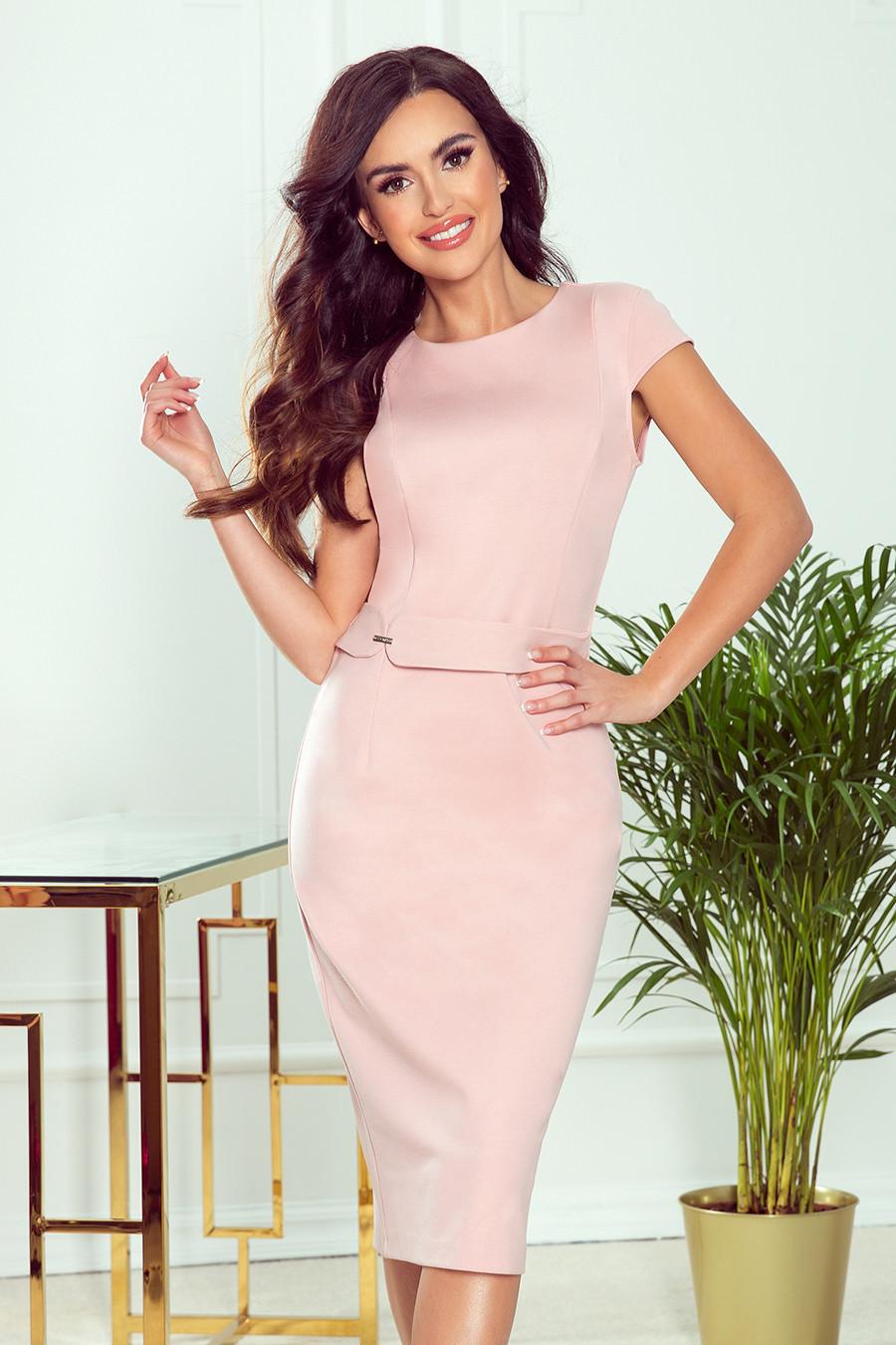 TAMARA - Elegantní dámské midi šaty v pudrově růžové barvě s páskem 301-1 XL