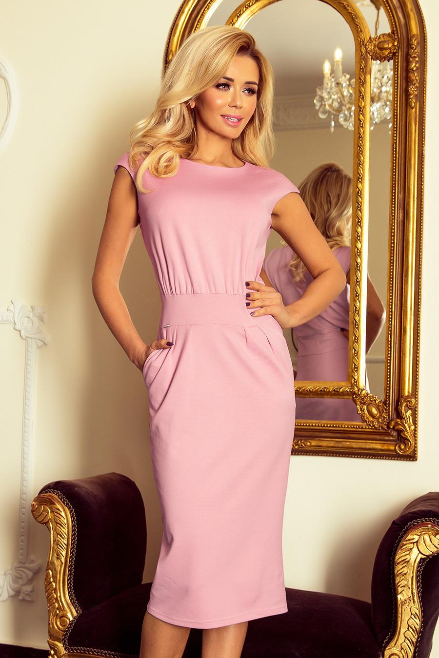 SARA Dámské midi šaty v barvě lila se zvýšeným střihem 144-9 S