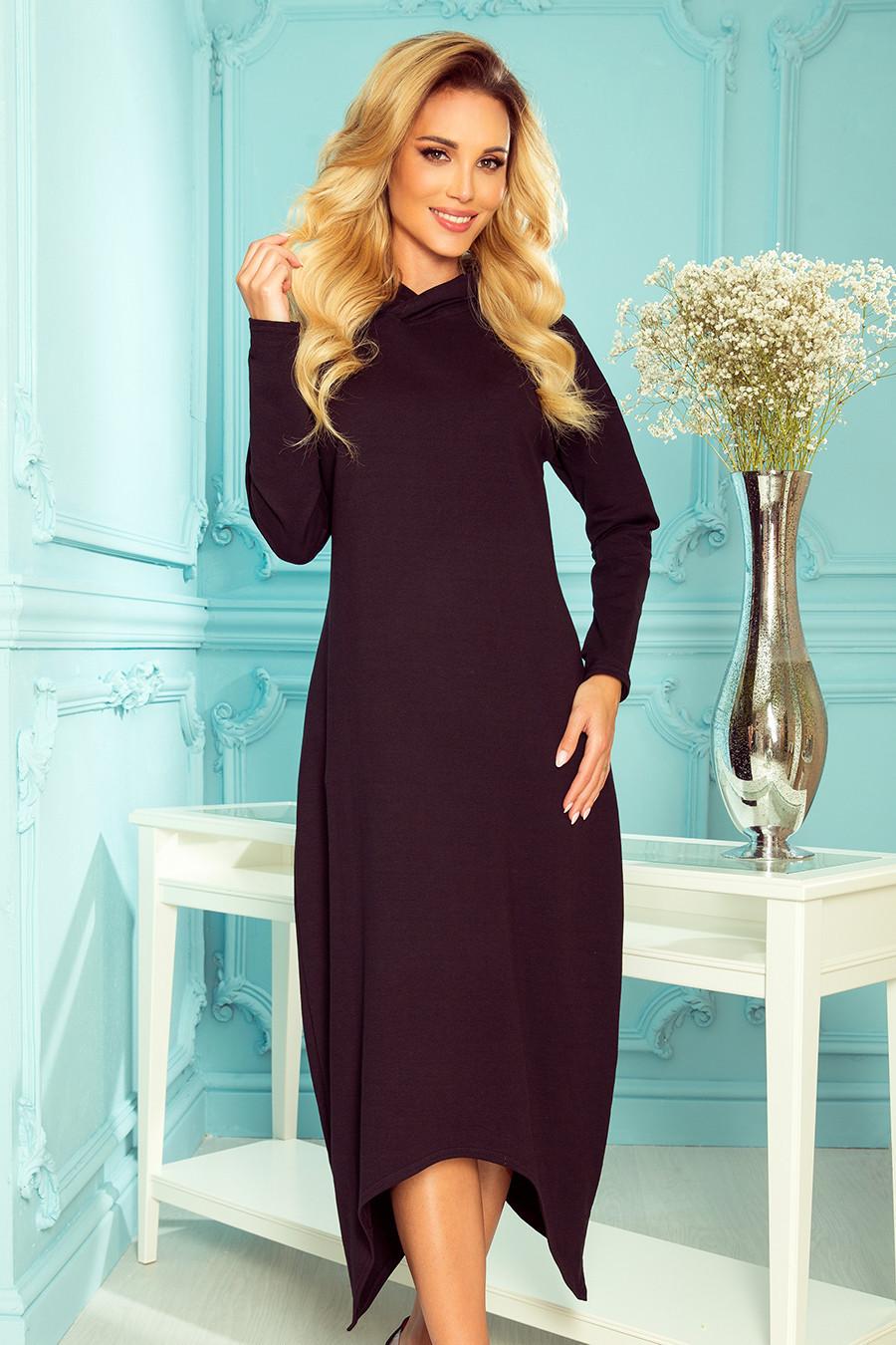 HARPER - Černé dámské midi šaty s kapucí 333-1 S