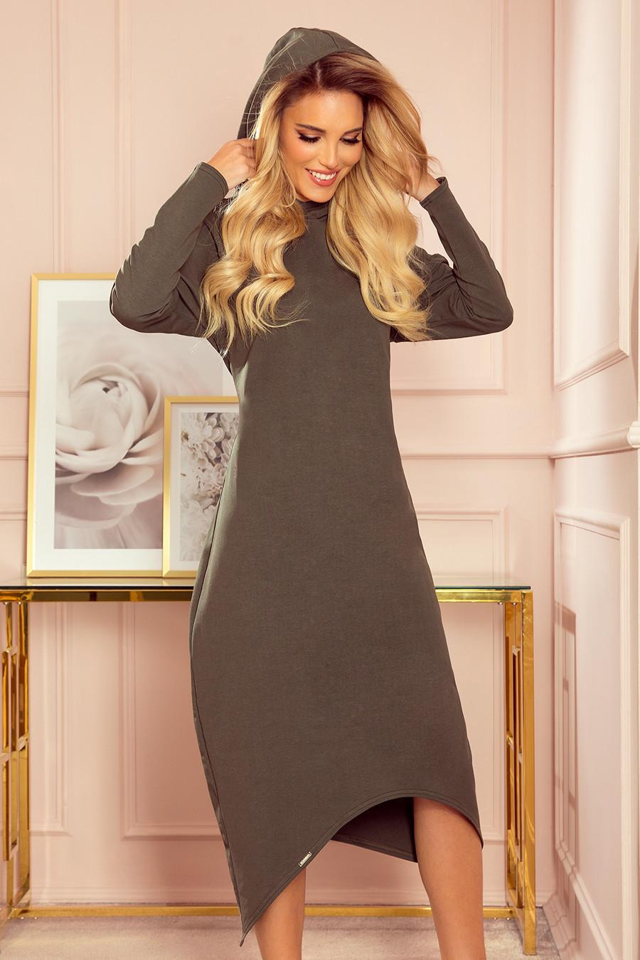 HARPER - Dámské midi šaty v khaki barvě s kapucí 333-2 XL