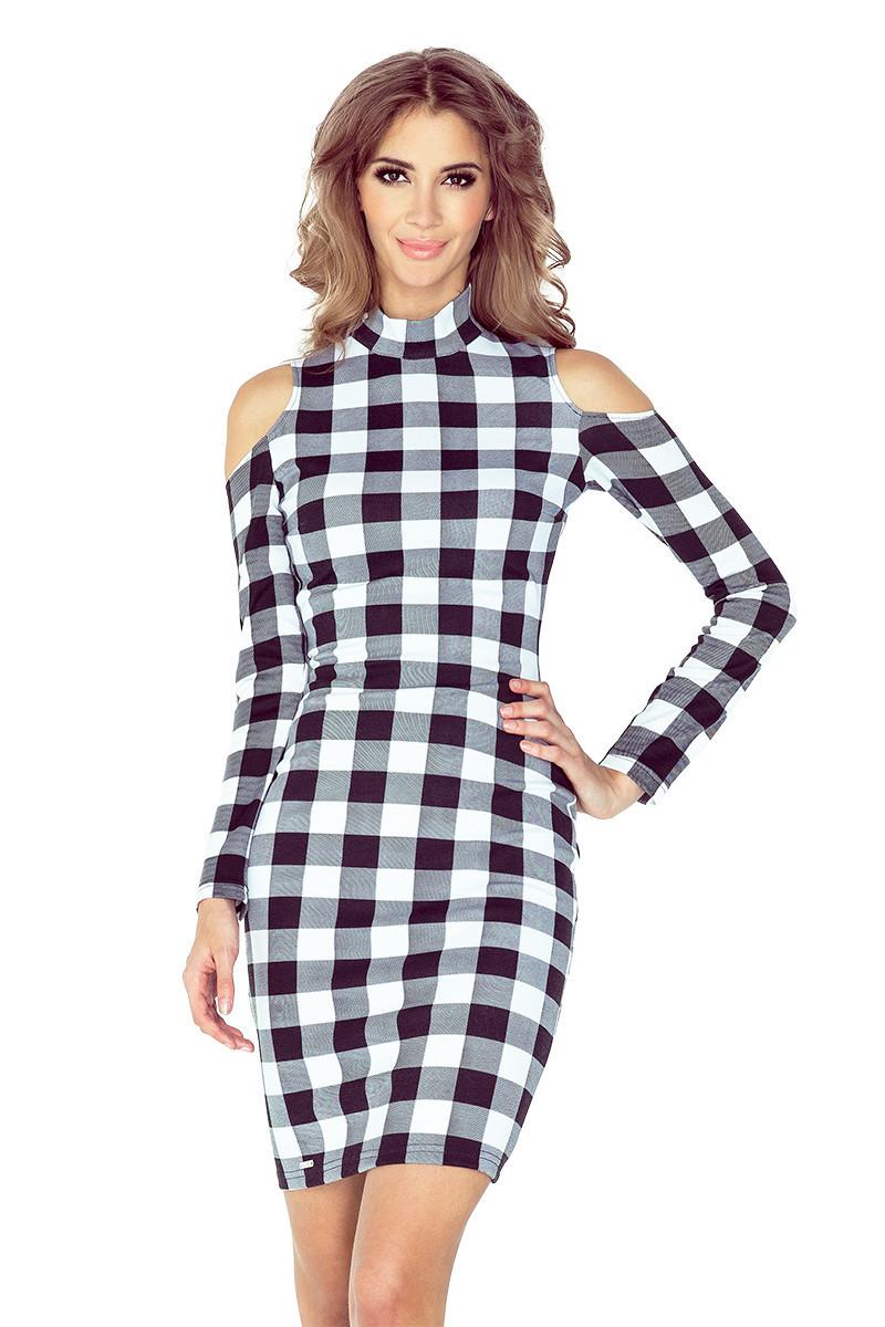 ae8646251aca Černo-bílé šaty s dlouhými rukávy MM 008-2 XL