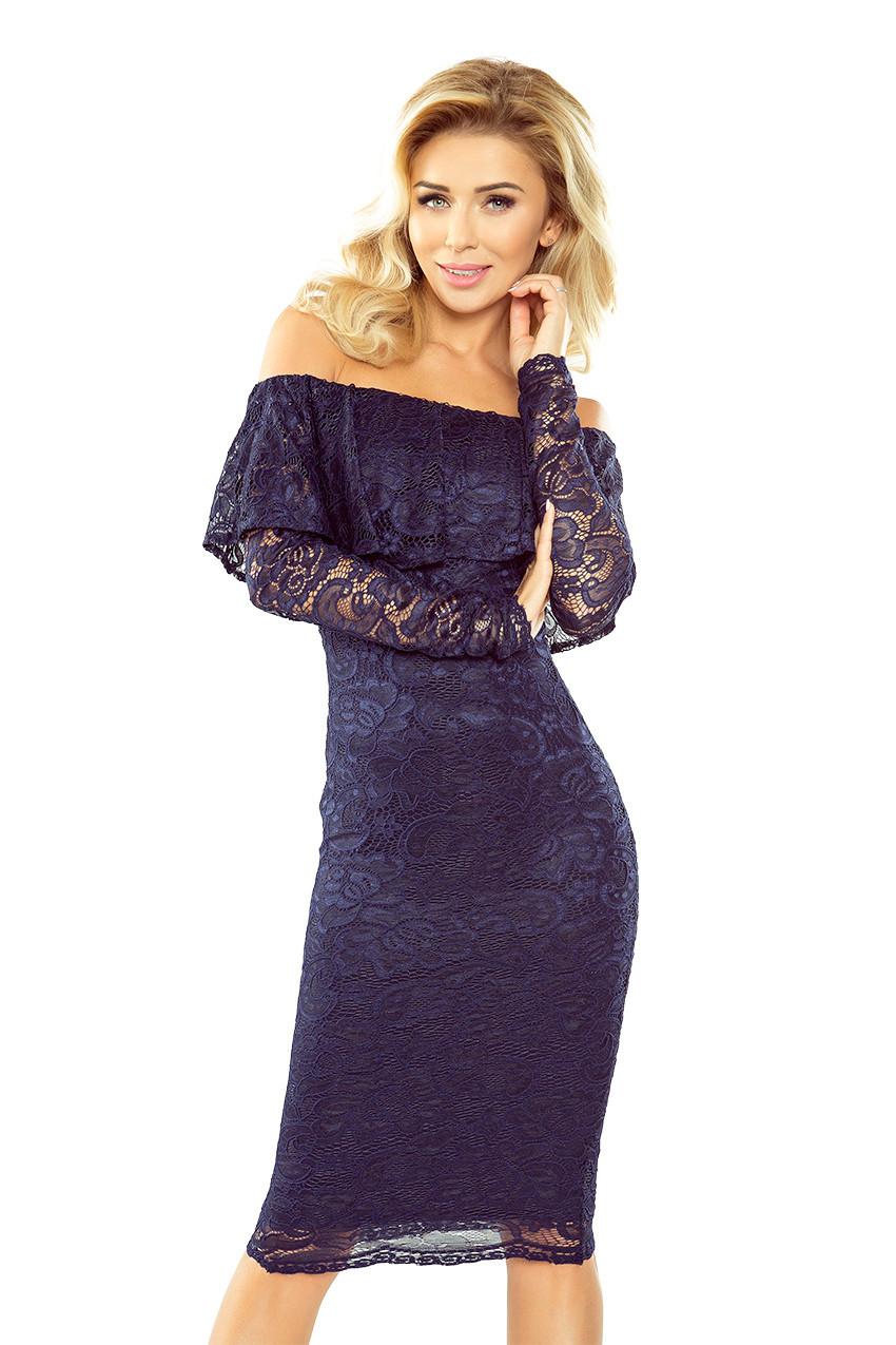 Tmavě modré krajkové šaty s dlouhým rukávem model 5279961 S