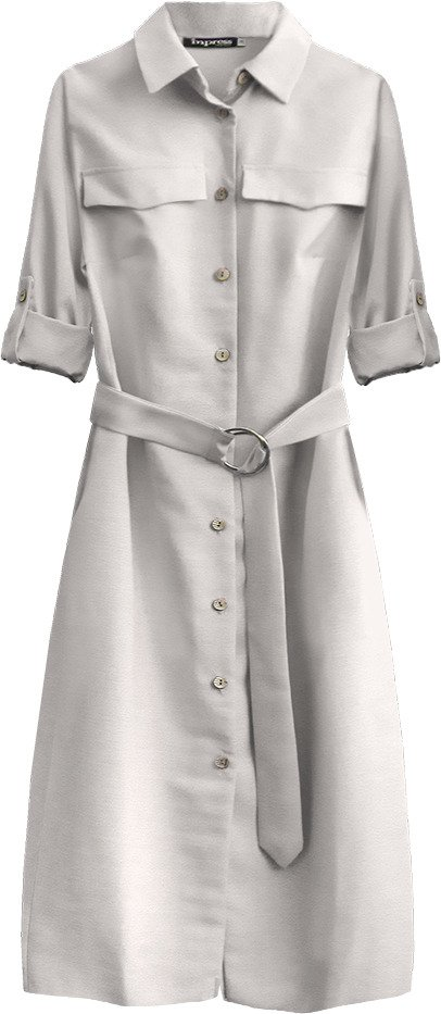 Světle béžové dámské midi šaty s knoflíky a páskem (293ART) béžová S (36)