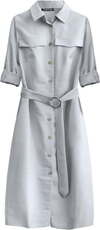 Světle šedé dámské midi šaty s knoflíky a páskem (293ART) šedá XL (42)