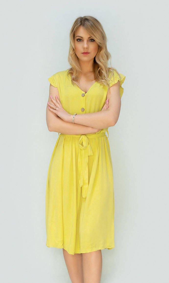 Žluté dámské midi šaty s knoflíky (395ART) žlutá ONE SIZE